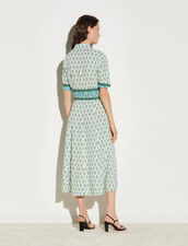 Long Printed Shirt Dress : Dresses color Green