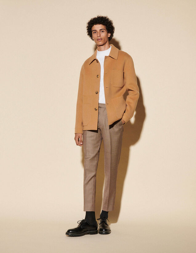 Double-Sided Wool Jacket : Trench coats & Coats color Beige