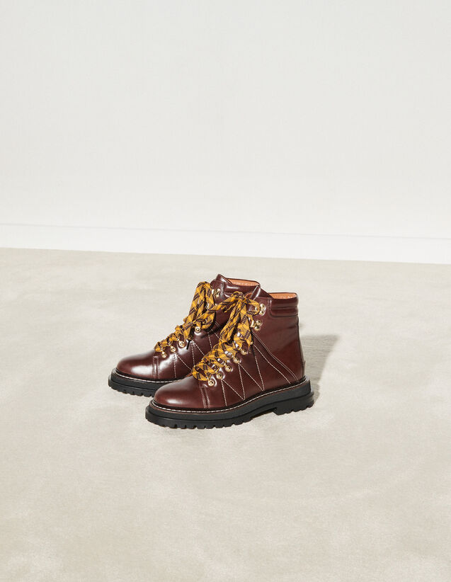 Topstitched Leather Boots : Boots color Brown
