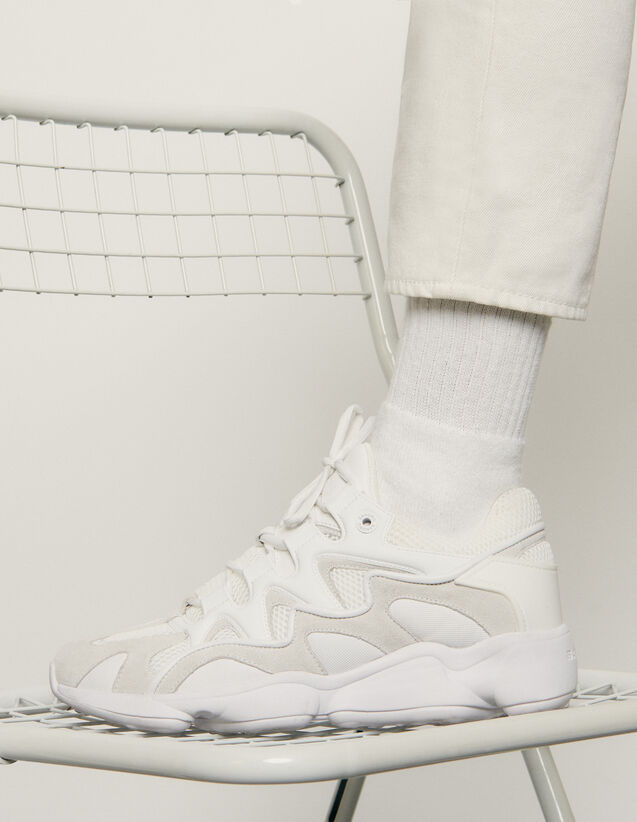 Trainers In Mixed Materials : Shoes color white