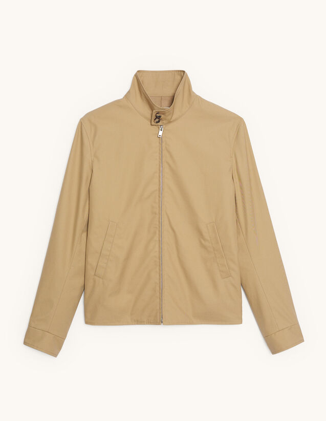 Cotton Zipped Jacket : Trench coats & Coats color Beige