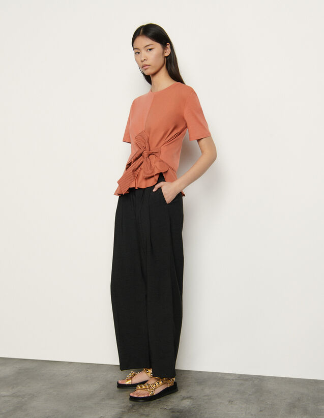 T-Shirt With Tie : T-shirts color Terracotta