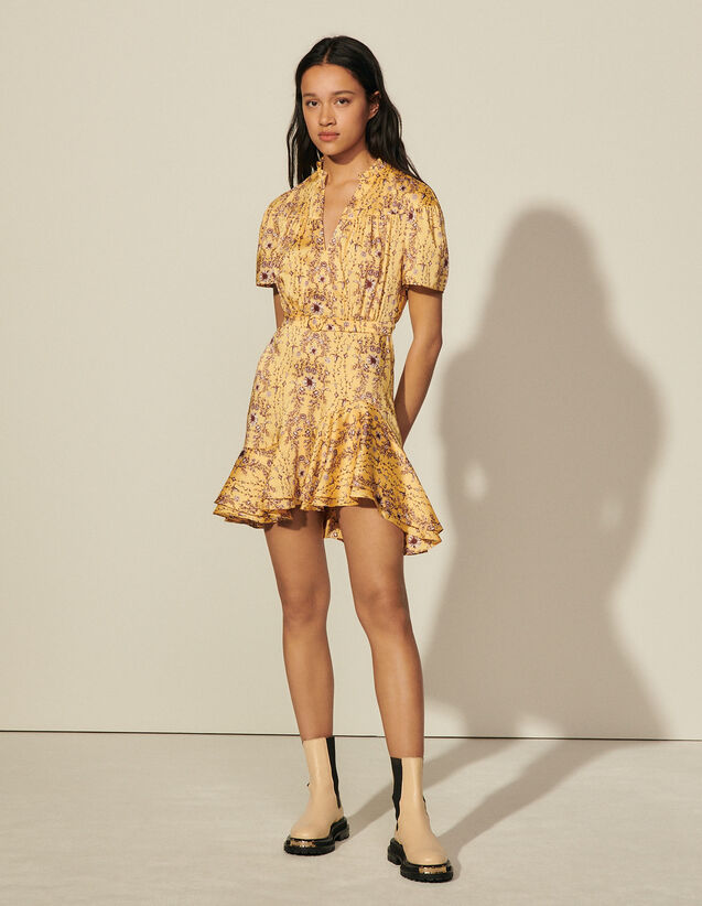 Short Printed Dress With Ruffles : Dresses color Yellow