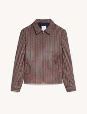 Houndstooth Wool Jacket : Trench coats & Coats color Beige