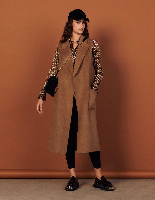 Sleeveless Wool Coat : Coats color Camel