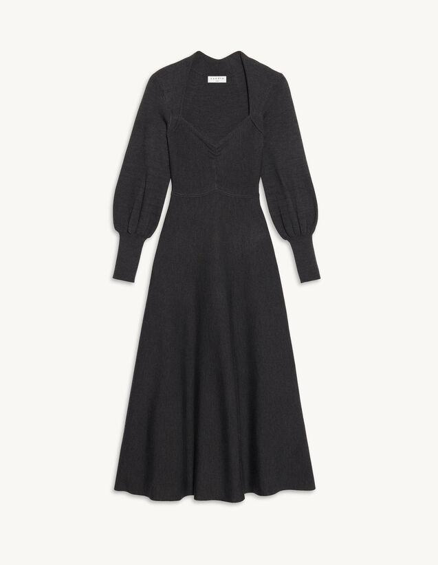 Long Dress With Sweetheart Neckline : Dresses color Dark Grey