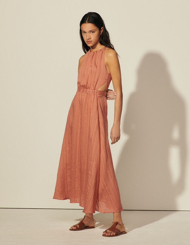 Long Fine Striped Dress : Dresses color Brown