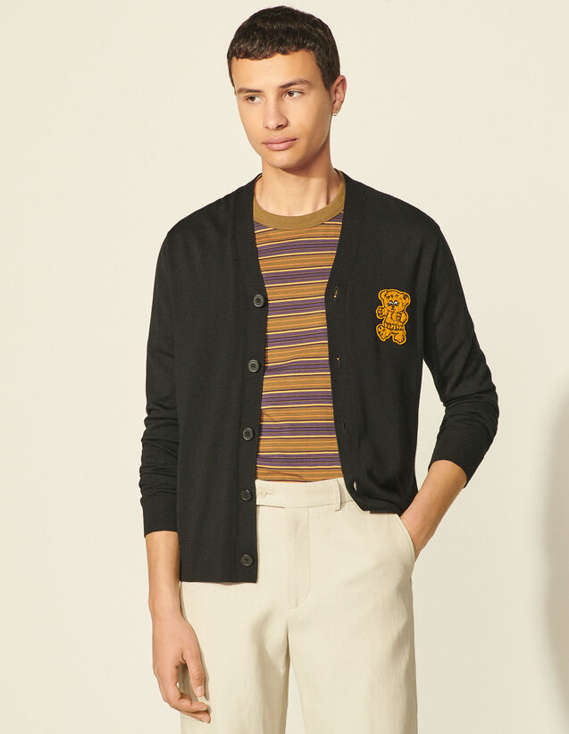 Cardigan With Bear Patch : Sweaters & Cardigans color Black