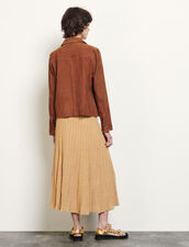Suede Jacket With Gold-Tone Press Studs : Blazer & Jacket color Brown