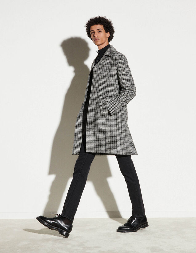 Checked Wool Coat : Trench coats & Coats color Black/White