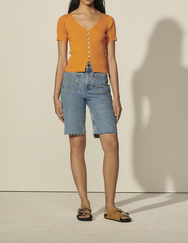 Short-Sleeved Cardigan : Sweaters & Cardigans color Orange