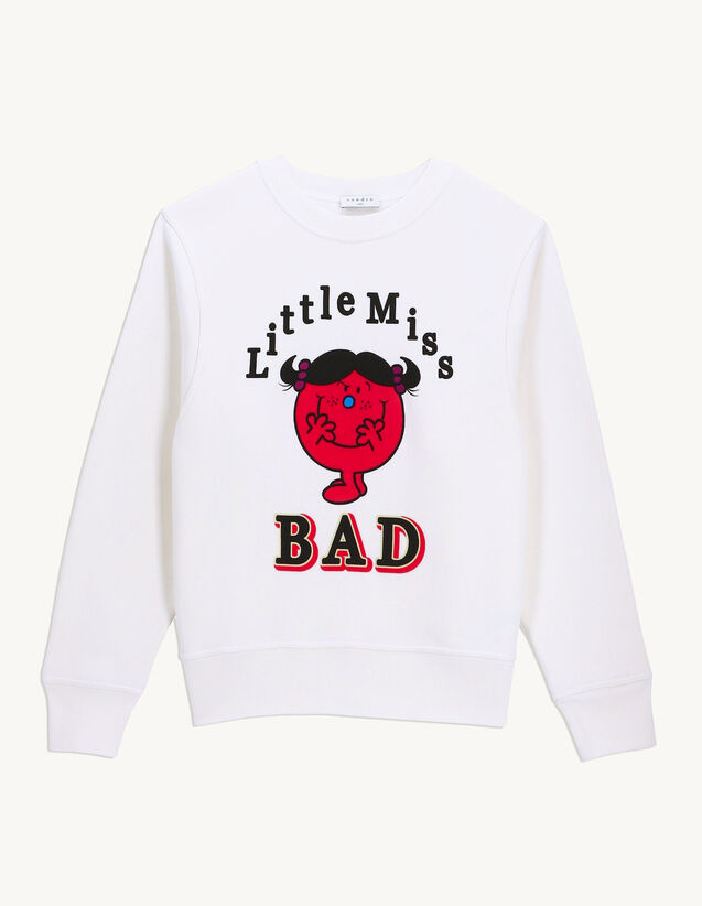 Printed Sweatshirt With Flocking : Tops color white