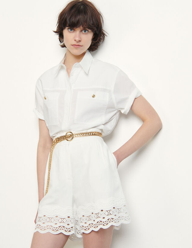 Linen Shorts With Braid Trim : Skirts & Shorts color Ecru