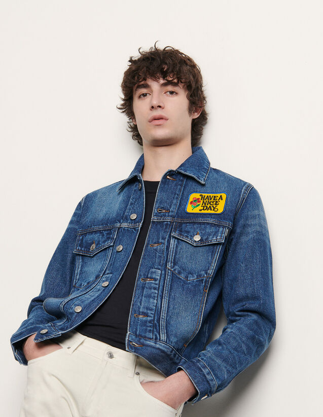 Denim Jacket With Embroidered Patch : Trench coats & Coats color Blue Vintage - Denim