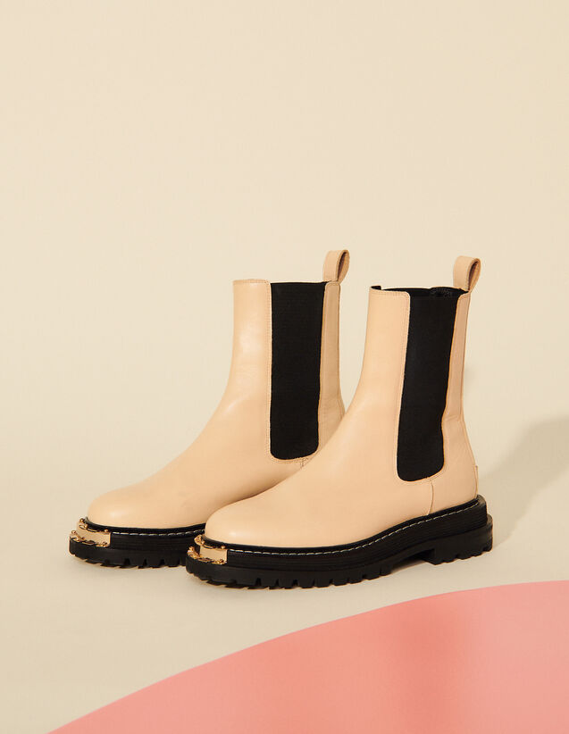 Ankle Boots With Notched Sole : 30%off color Ecru