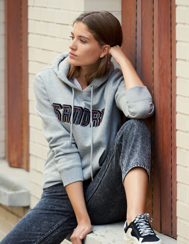 Sweatshirt With Sandro Lettering : Tops color Grey