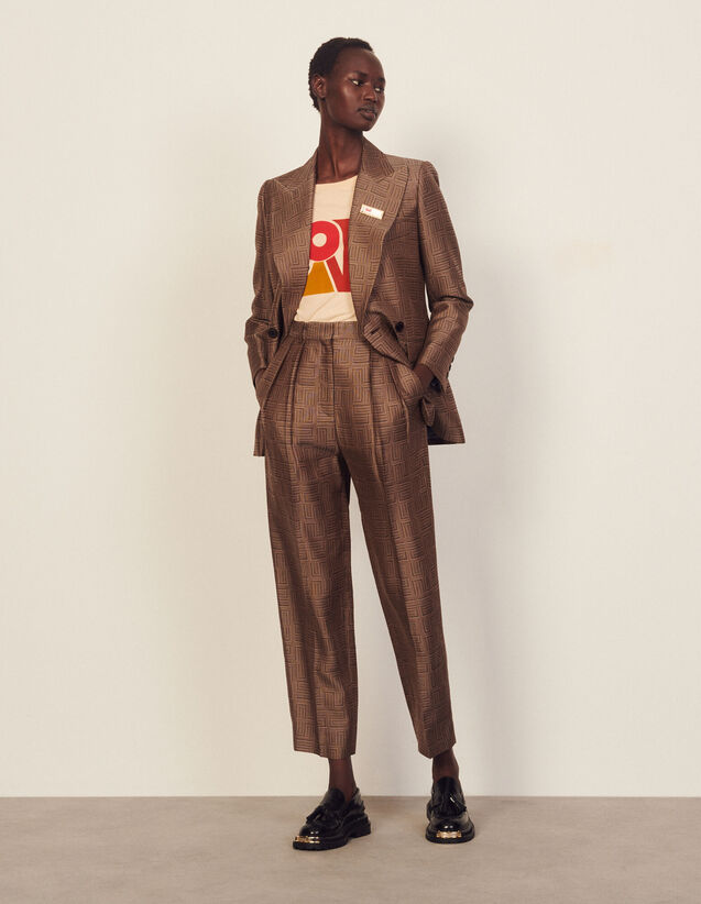 High-Waisted Jacquard Trousers : Pants color Brown / Black
