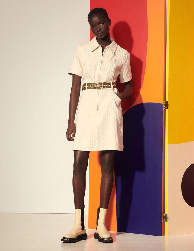 Double S Jacquard Dress : Dresses color Ecru