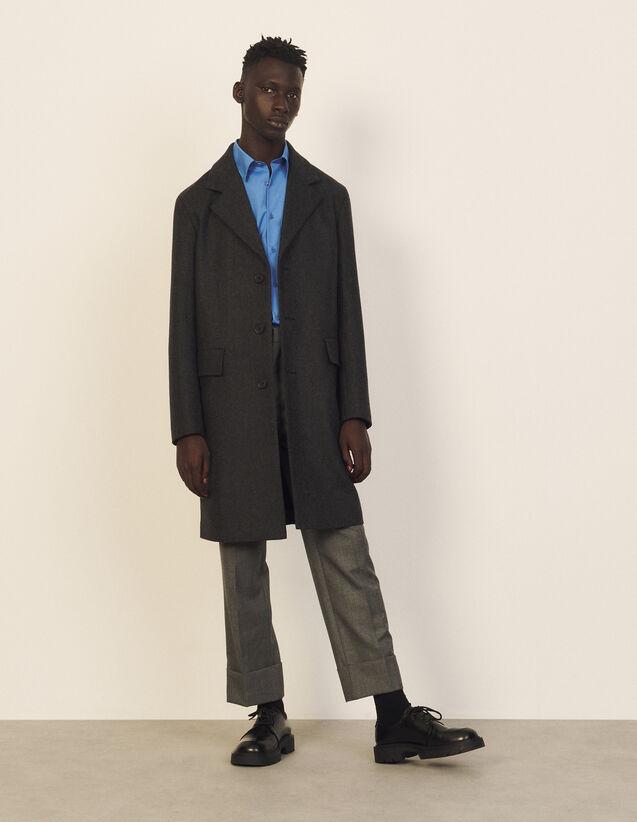 Long Wool Coat : Trench coats & Coats color Grey