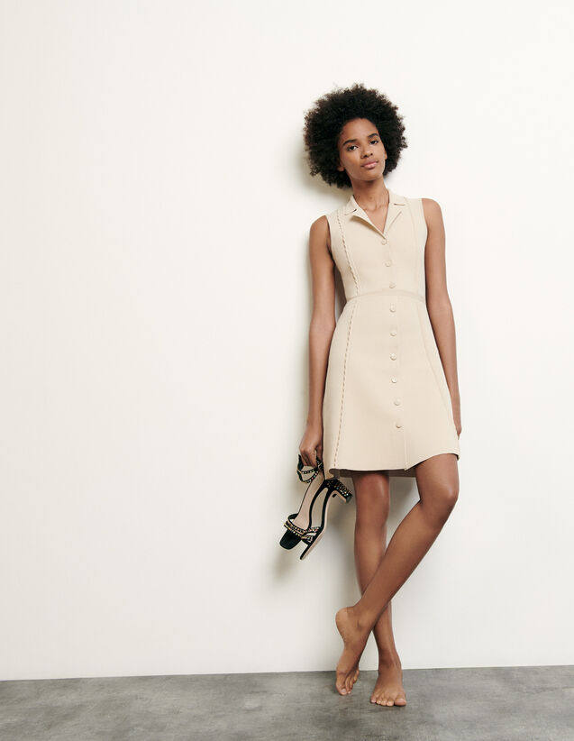 Short Knitted Dress With Tailored Collar : Dresses color Beige