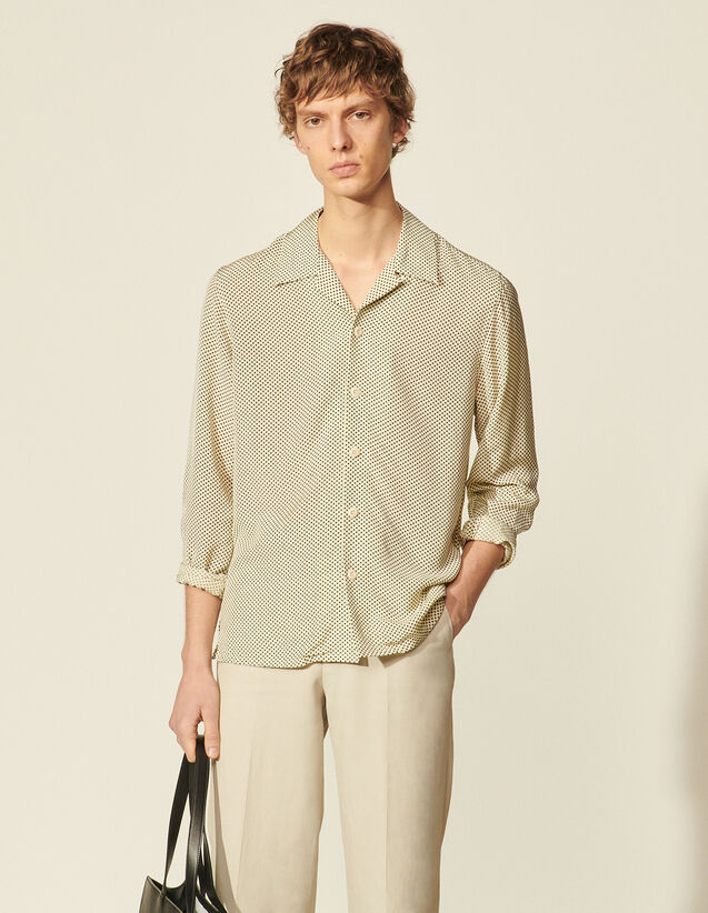 Printed Flowing Shirt : Shirts color Beige