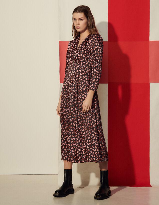 Long Printed Dress : Dresses color Black / Pink