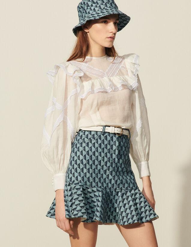 Short Monogram Denim Skirt : Skirts & Shorts color Blue