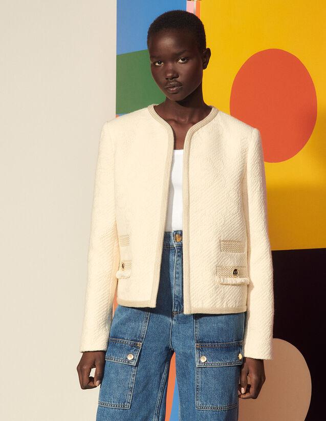 Double S Tweed Jacket : Blazer & Jacket color Ecru