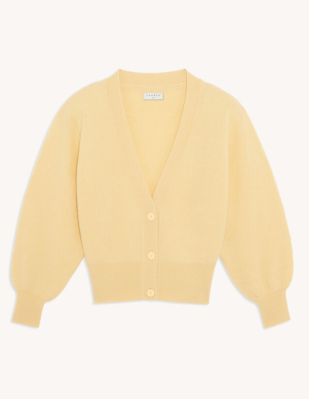 Wool Twinset Cardigan : Sweaters & Cardigans color Light Yellow