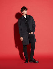 Checked Wool Blend Coat : Trench coats & Coats color Grey