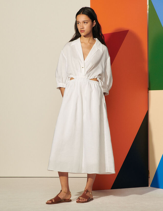 Long Dress With Side Openings : Dresses color Ecru