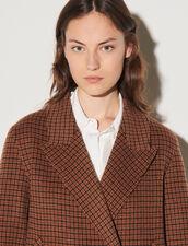 Long Oversized Wool Coat : Coats color Brown / Black