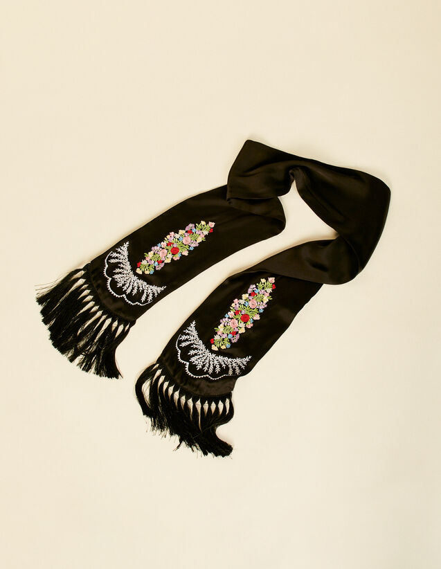 Embroidered Scarf With Fringing : Sacrves color Black