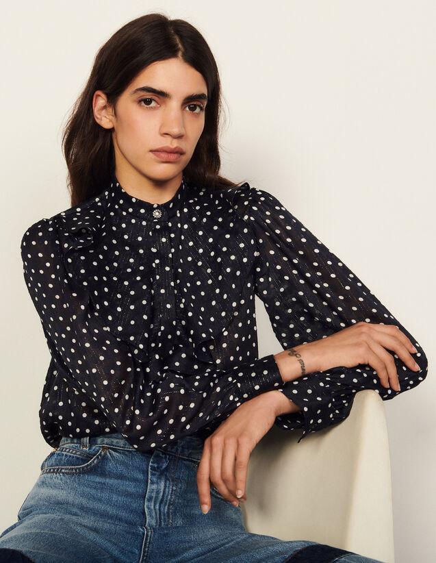 Silk Shirt With Jabot Collar : Shirts color Marine / Blanc