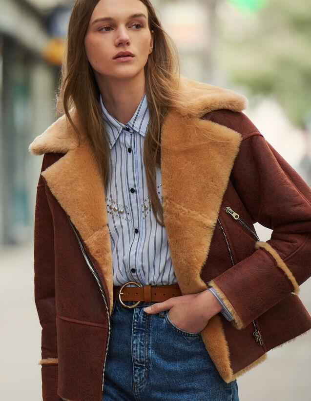 Two-Tone Sheepskin Aviator Jacket : Blazer & Jacket color Brown