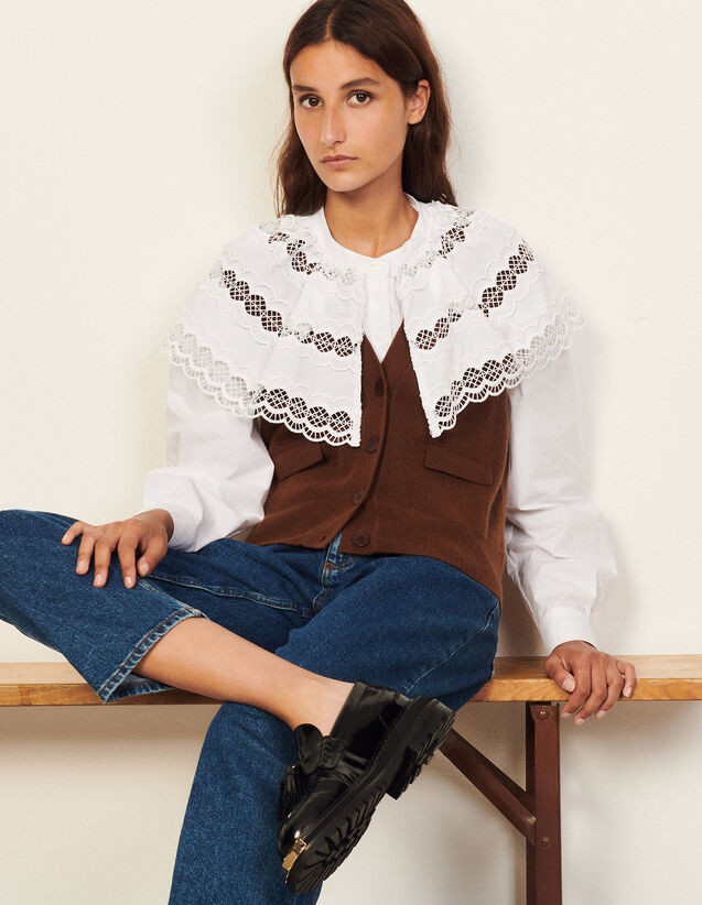 Sleeveless Cardigan : Sweaters & Cardigans color Black Brown