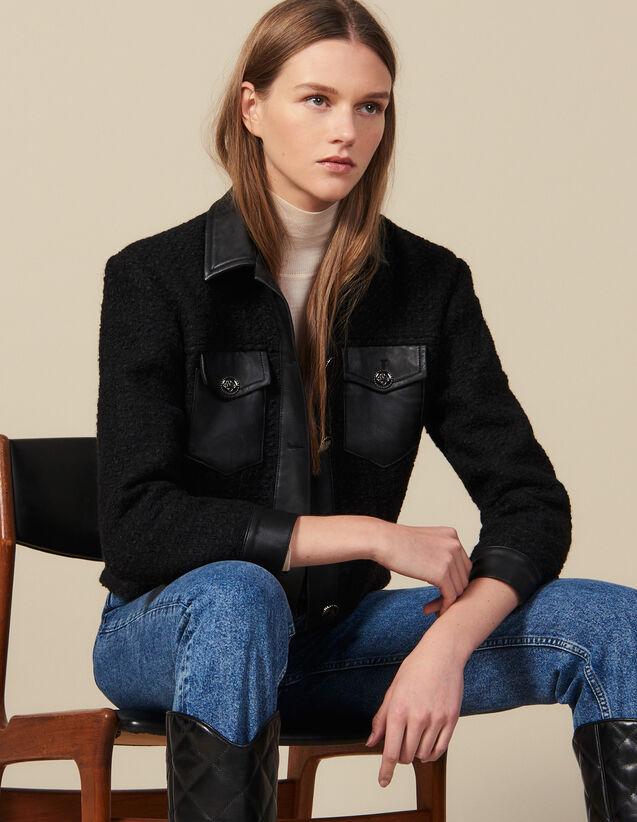 Tweed Jacket With Leather Trim : Blazer & Jacket color Black