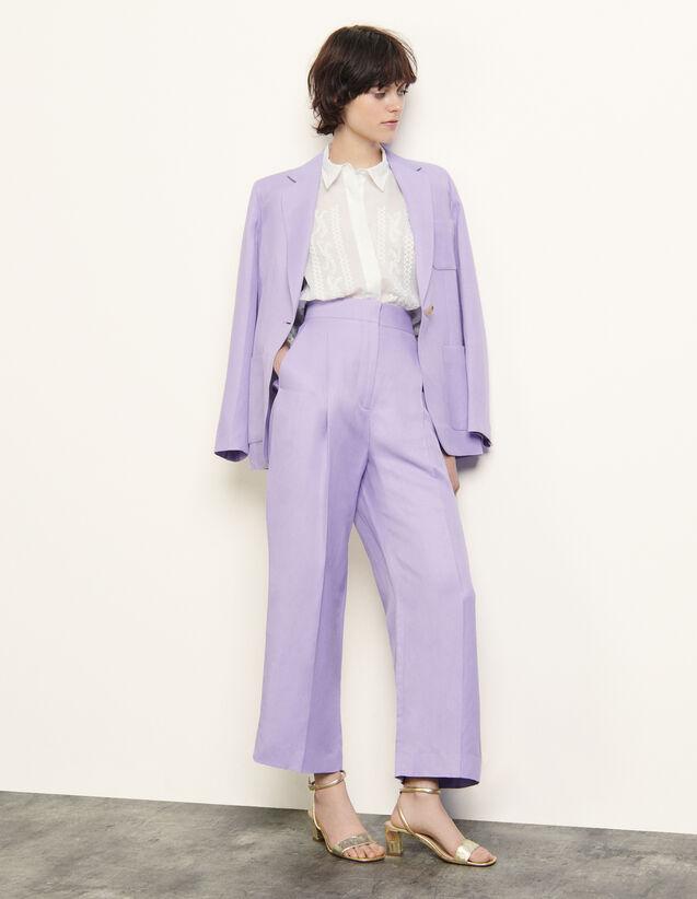 Linen Blend Wide-Leg Trousers : Pants color Mauve