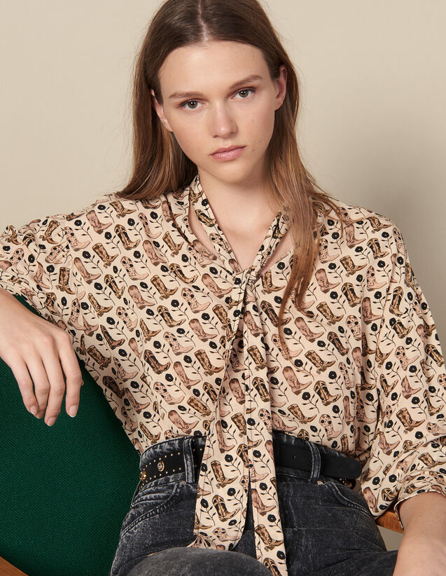 Printed Flowing Top, Pussy Bow Collar : Tops color Beige