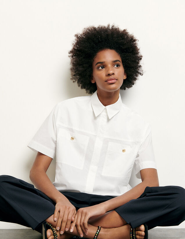 Cropped Shirt With Patch Pockets : NEW IN color Optical White