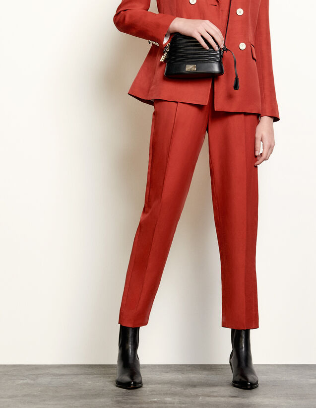 High-Waisted Tailored Trousers : Pants color Terracotta