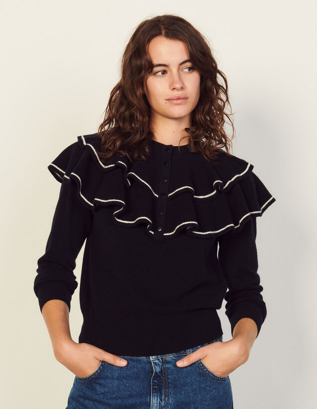 Wool Sweater With Ruffles : Sweaters & Cardigans color Navy Blue