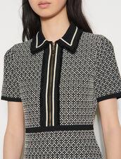 Short Knit Dress : null color Black / White