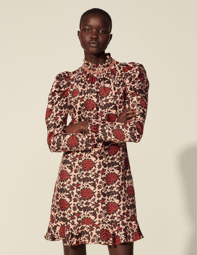 Short Printed Silk Blend Dress : Dresses color Pink / Red