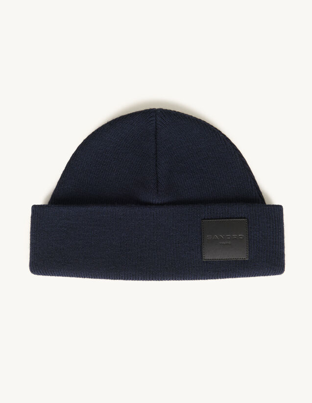 Woollen Beanie With Leather Jacron Label : Scarves color Black