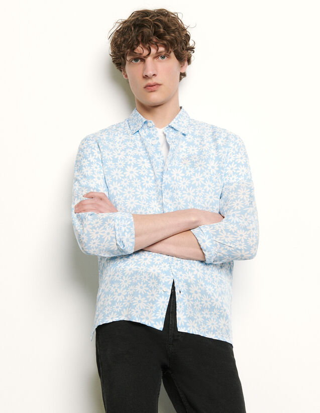 Printed Flowing Shirt : Shirts color Sky Blue
