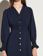 Dress With Press Studs And Smocked Belt : Dresses color Navy Blue