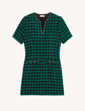 Short Tweed Dress With Braid Trim : Dresses color Green / Black