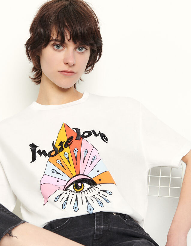 T-Shirt With Motifs And Embroidery : T-shirts color white
