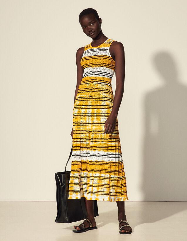 Long Tie-Dye Dress With Stripes : Dresses color Ecru / Yellow